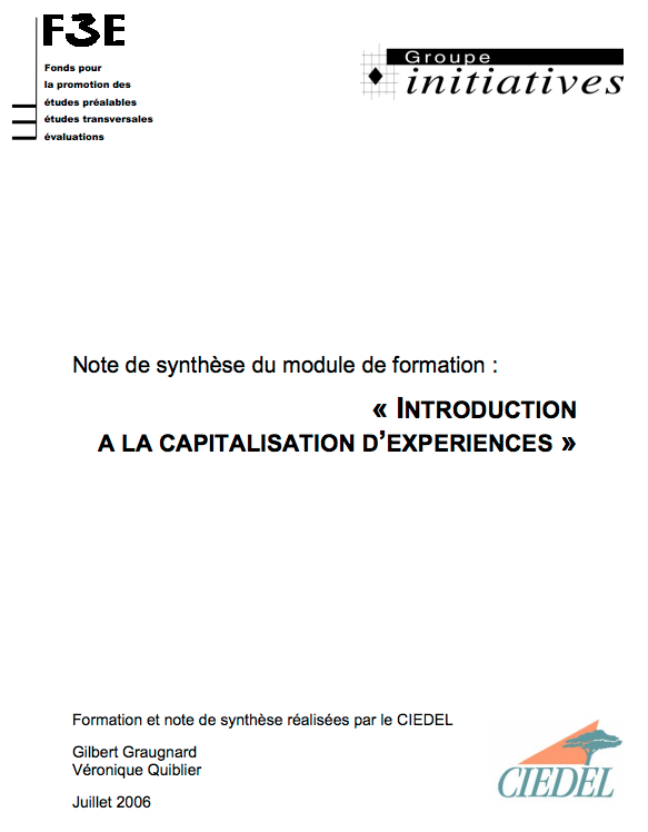 Introduction à la capitalisation d'expériences